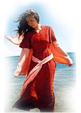 платье - кремплен; рукава, пояс, <<крылья>> - кашибо